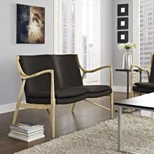 See Details - Makeshift Upholstered Fabric Loveseat in Natural Brown