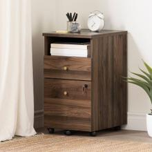 2-Drawer Mobile File Cabinet With Open Storage - Natural Walnut
