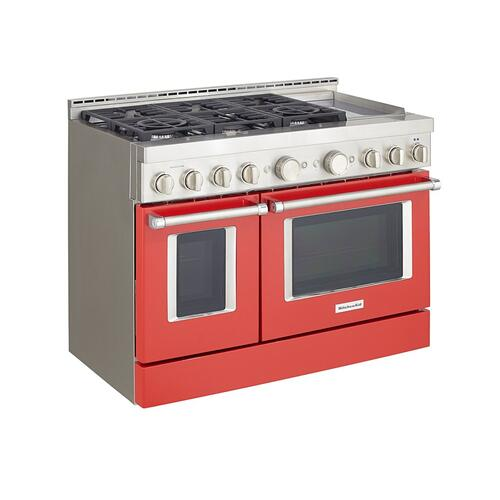 KitchenAid Canada - KitchenAid® 48'' Smart Commercial-Style Gas Range with Griddle - Passion Red