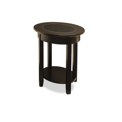 - Demilune Elliptical Oval End Table with Glass Top and Shelf