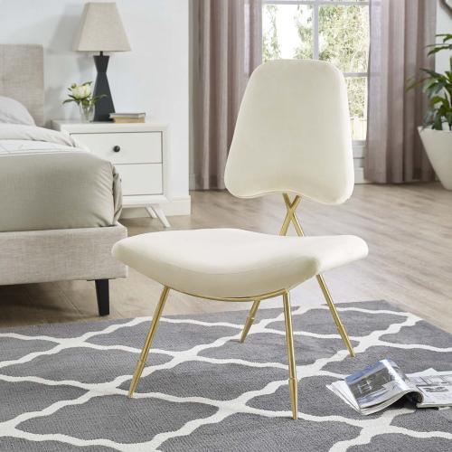 Ponder Performance Velvet Lounge Chair in Ivory