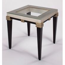 End Table with Glass 24x24x26""