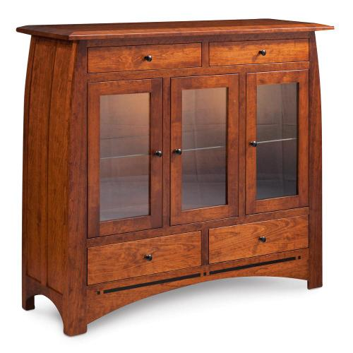 Simply Amish - Aspen 3-Door Dining Cabinet with Inlay, Glass Doors