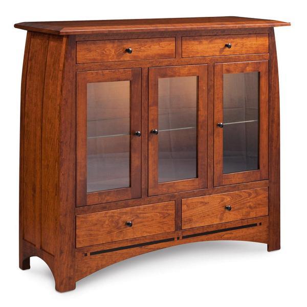See Details - Aspen 3-Door Dining Cabinet with Inlay, Glass Doors