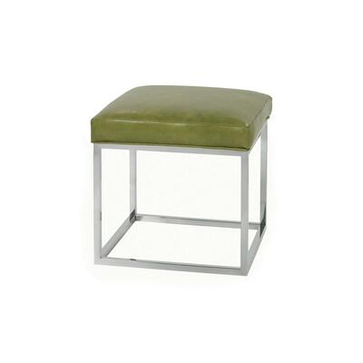 Percy Leather Ottoman - Chrome