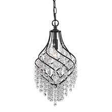 See Details - Mowbray 1-Light Mini Pendant in Dark Bronze with Clear Crystal Drops