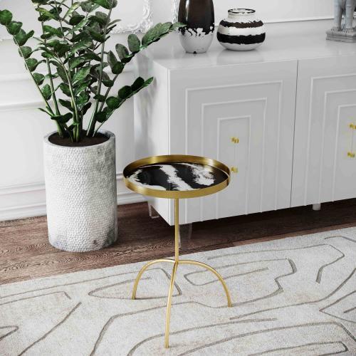 Tov Furniture - Enamel Black/White Accent Table
