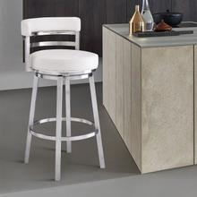 """Madrid Contemporary 26"""" Counter Height Barstool in Brushed Stainless Steel Finish and White Faux Leather"""