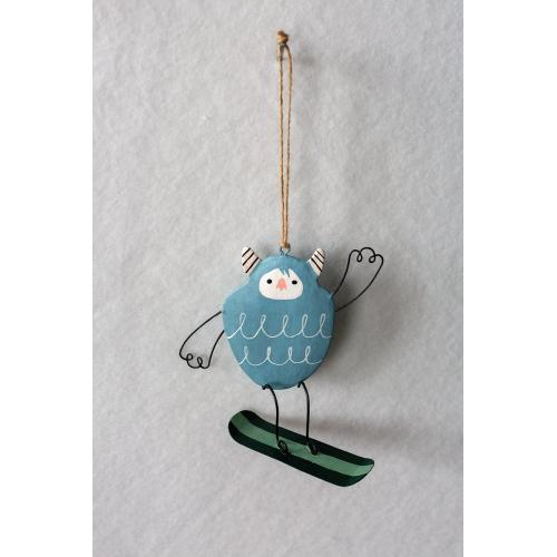 """4""""x 1.75""""x 4.25"""" Light-Blue Yeti Ski Bum Ornament (Snowboard Option)"""