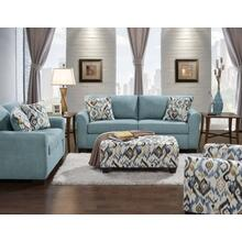 Liverpool Microfiber 2-Seater Sofa and Loveseat Set with Pillows in Sansations Capri Blue