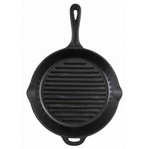 "12"" Seasoned Cast Iron Skillet with Ribs"