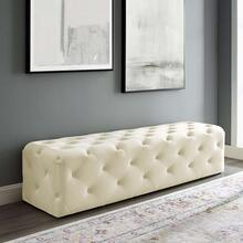 "Amour 72"" Tufted Button Entryway Performance Velvet Bench in Ivory"