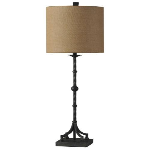 Industrial Bronze  Traditional  Cast Iron Table Lamp  100W  3-Way  Hardback Shade