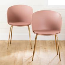 Dining Chair with Metal Legs - Set of 2 - Pink and Gold