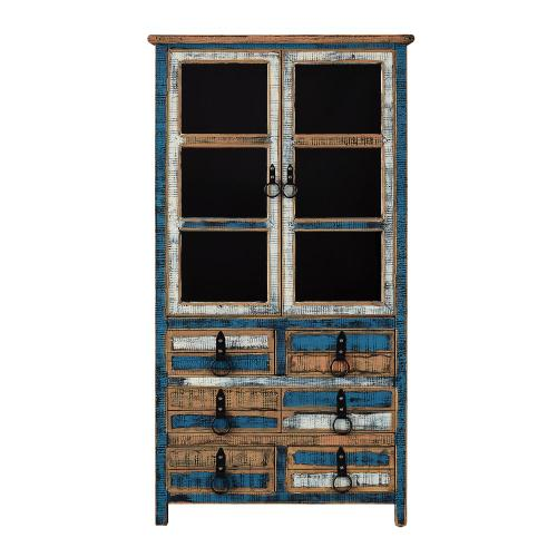 6-drawer and 2 Glass Doors High Curio Cabinet, Colorful