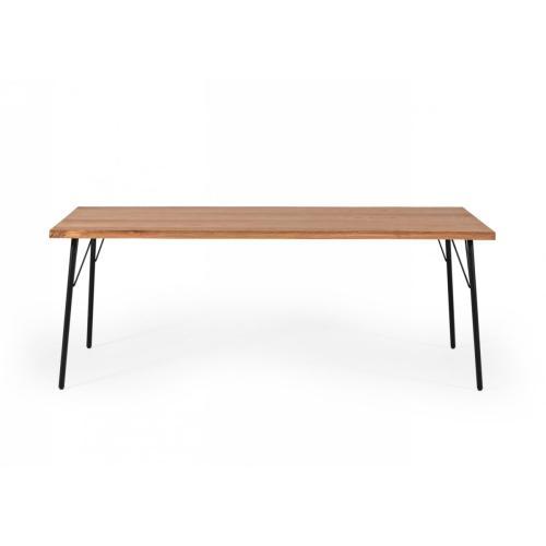 Modrest Barnum - Industrial Oak and Black Iron Live Edge Dining Table