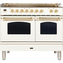 View Product - Nostalgie 40 Inch Dual Fuel Natural Gas Freestanding Range in Antique White with Brass Trim