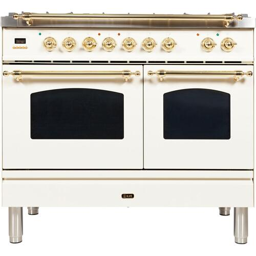 Ilve - Nostalgie 40 Inch Dual Fuel Natural Gas Freestanding Range in Antique White with Brass Trim