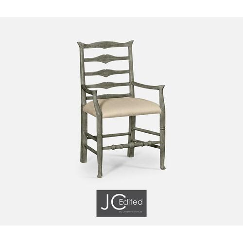 Antique Dark Grey Ladder Back Arm Chair, Upholstered in MAZO