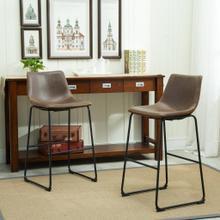 See Details - Lotusville Vintage PU Leather Barstools, Antique Brown, Set of 2