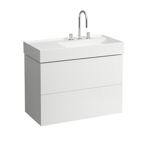 Mustard Yellow Vanity Unit with two drawers for washbasin shelf left 810339 (incl. organiser)