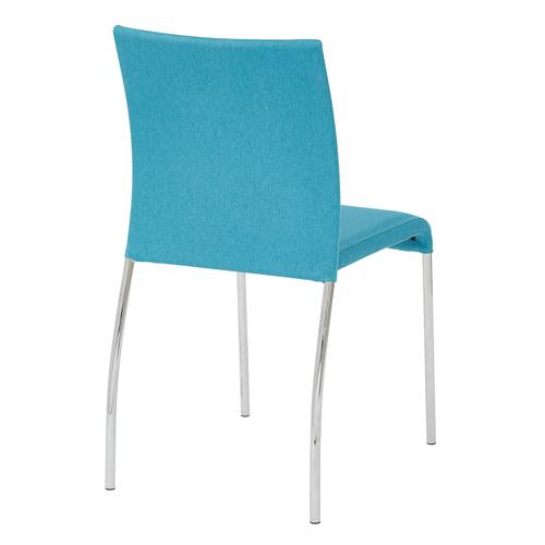 Conway Stacking Chair In Aqua Fabric, Fully Assembled, 2-pack