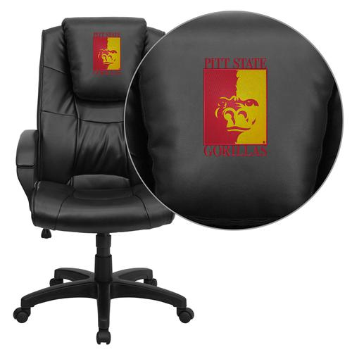 Pittsburg State University Gorillas Embroidered Black Leather Executive Office Chair