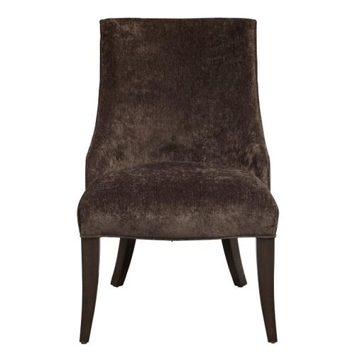 Leather and Fabric Shelter Back Dining Chair in Dark Charcoal Grey