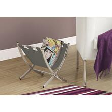 See Details - MAGAZINE RACK - GREY LEATHER-LOOK / CHROME METAL