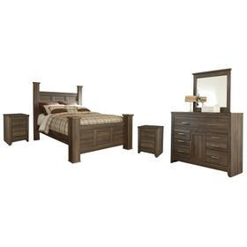 Queen Poster Bed With Mirrored Dresser and 2 Nightstands