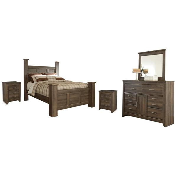 See Details - Queen Poster Bed With Mirrored Dresser and 2 Nightstands