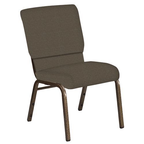 Flash Furniture - 18.5''W Church Chair in Cobblestone Khaki Fabric - Gold Vein Frame