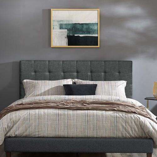 Paisley Tufted Full / Queen Upholstered Linen Fabric Headboard in Gray