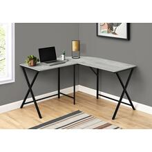 "COMPUTER DESK - 55""L / GREY TOP / BLACK METAL CORNER"