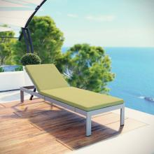 Shore Outdoor Patio Aluminum Chaise with Cushions in Silver Peridot