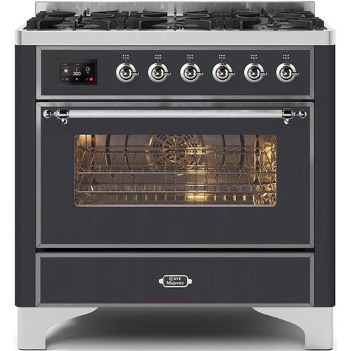 """Gallery - 36"""" Majestic II Series Freestanding Dual Fuel Single Oven Range with 6 Sealed Burners, Triple Glass Cool Door, Convection Oven, TFT Oven Control Display and Child Lock in Matte Graphite"""