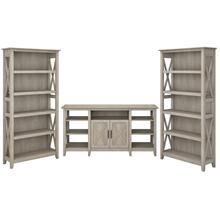 Key West Tall TV Stand with Set of 2 Bookcases - Washed Gray