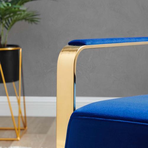 Seg Performance Velvet Accent Chair in Gold Navy