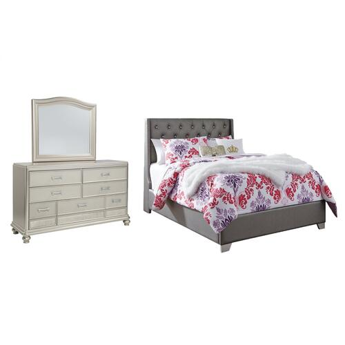 Full Upholstered Bed With Mirrored Dresser