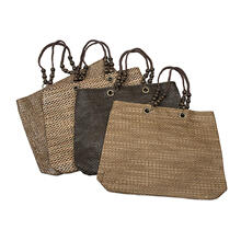 BTQ Olanta Straw and Wood Bead Bag - Ast 4
