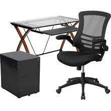 3 Piece Office Set - Glass Desk with Keyboard Tray, Ergonomic Mesh Office Chair and Filing Cabinet with Lock & Side Handles