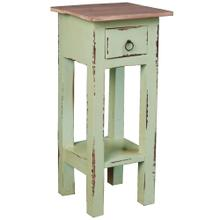 Cottage Side Table - Lime Wash with a Bahama Wood Top