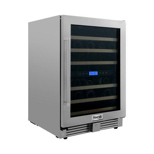 24 Inch Dual Zone Indoor/outdoor Wine Cooler, 46 Wine Bottle Capacity