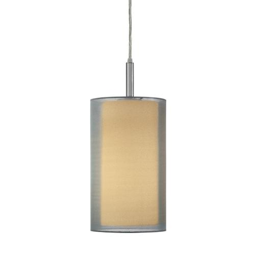 """Sonneman - A Way of Light - Puri Cylinder Pendant [Size=8"""", Color/Finish=Satin Nickel w/Silver Shade]"""