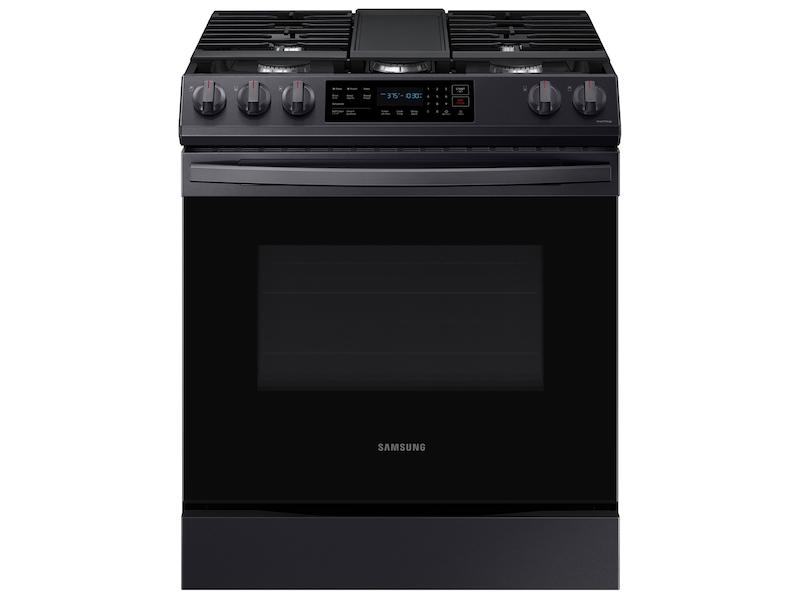 Samsung6.0 Cu. Ft. Smart Slide-In Gas Range With Convection In Black Stainless Steel
