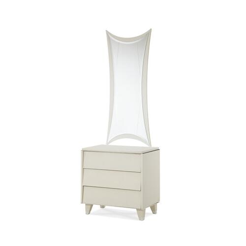 Upholstered Nightstand w/Mirror