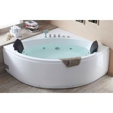View Product - 5' Rounded Modern Double Seat Corner Whirlpool Bath Tub with Fixtures