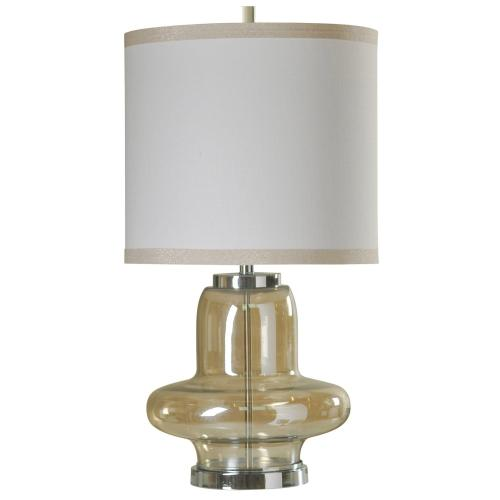 Elegance Plated Glass & Chrome Metal Accent Table Lamp with Designer Hardback Shade