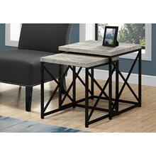NESTING TABLE - 2PCS SET / GREY RECLAIMED WOOD / BLACK