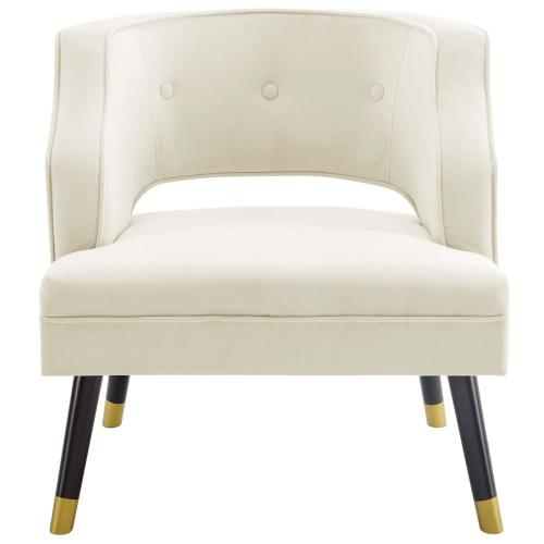 Modway - Traipse Button Tufted Open Back Performance Velvet Armchair in Ivory